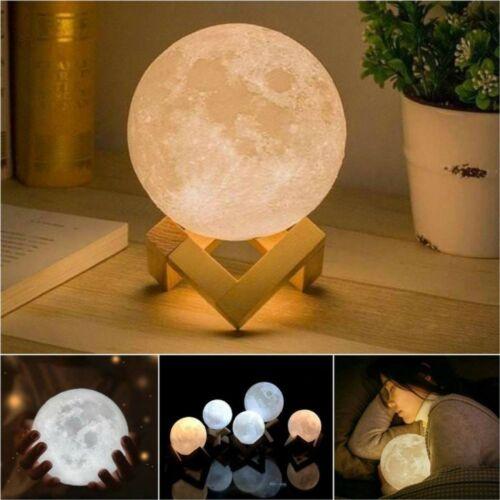 3D Printing Moon Lamp USB LED Moonlight Luna Night Light Dimmable Touch Sensor