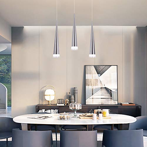 Buy Chying Modern Kitchen Island Lighting Mini Cone 3 Light Pendant Light Ceiling Light With Acrylic Shade Chandelier 15w Cool White 6500k Adjustable Lights Fixtures For Kitchen Island Dining Room Online In Thailand