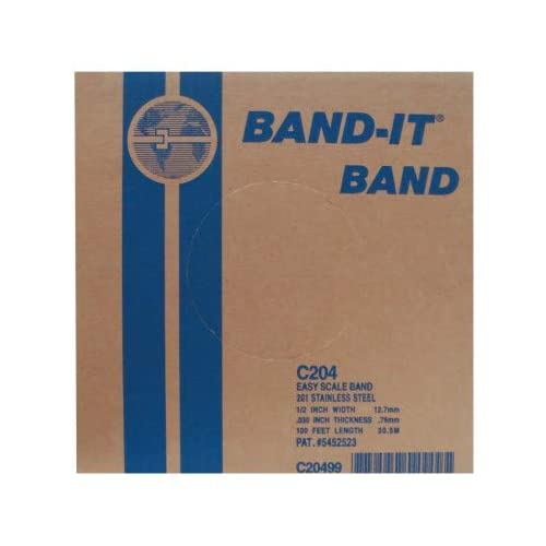 BAND-IT C144C9-P100 201 Stainless Steel Band with Color-It Polyester Coat Red 1//2 Width X 0.025 Thick 100 Feet Roll in Clear Tote 1//2 Width X 0.025 Thick