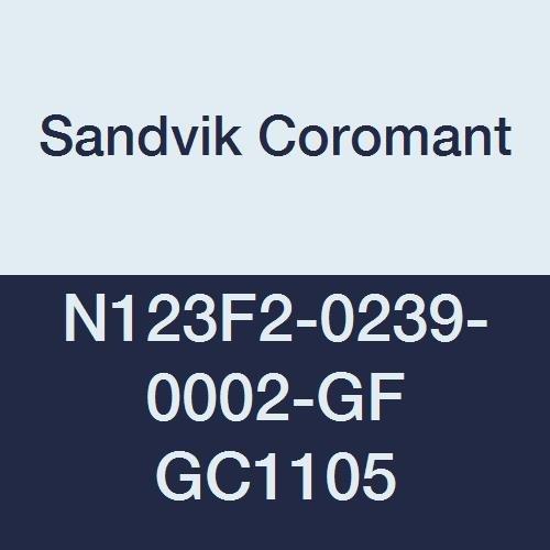 Pack of 10 GC1105 Grade PVD Coating Sandvik Coromant CoroCut 2-Edge Carbide Grooving Insert 0.0157 Corner Radius GF Geometry 0.158 Cutting Width 2 Cutting Edges H Insert Seat Size Neutral Cut N123H2-0400-0004-GF
