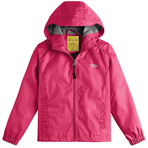 Girls Windproof Lightweight Rain Jacket Hooded Raincoat Windbreaker for Camping Traveling