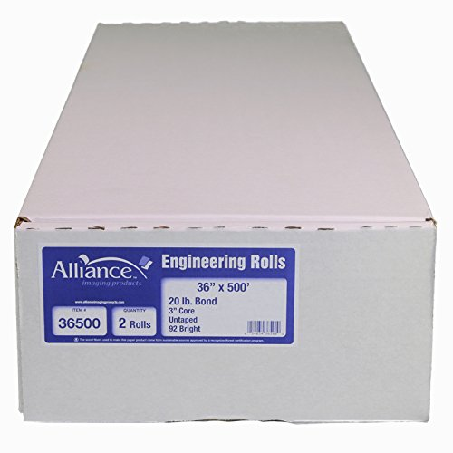 36 x 150, 24 LB Alliance High Resolution Wide Format Ink Jet Media Coated Bond Rolls 96 Bright with 2 core For Aqueous and Latex Printers 1 Roll per Carton