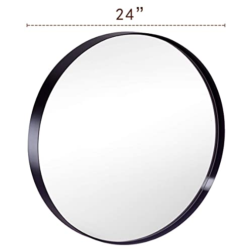 Round Bathroom Mirror For Wall 24 Inch Black Circle Mirror With Modern Premium Stainless Steel Metal Frame Wall Mounted For Bathroom Entryway Vanity Living Room Bedroom Buy Products Online With Ubuy