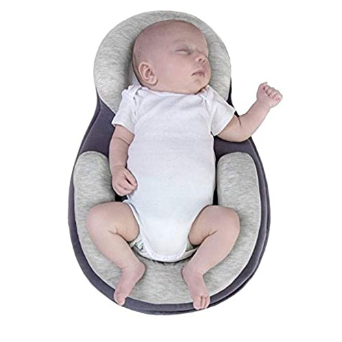 Portable Baby Bed Head Pillow Sleep Positioning Comfortable Baby Crib Mattress Travel Bed Head Support Breathable Deep Sleep Baby Bed Newborn Lounger 0-12 Month Brown