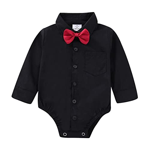 Baby Boy Dress Shirt Button Down T-Shirt with Bow-tie Gentleman Bodysuit Romper for Infants Birthday Party Cake Smash Photo Shoot Wedding Christening