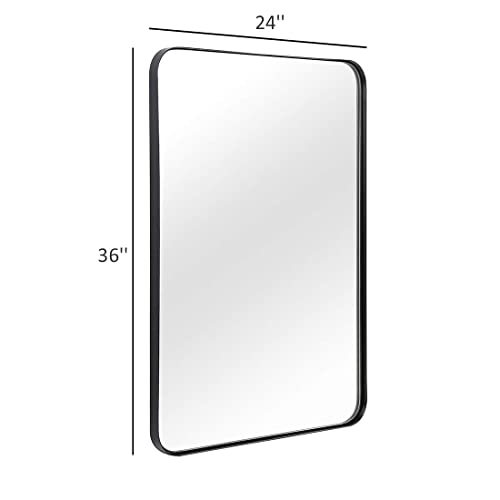 Buy Andy Star Wall Mirror For Bathroom 24x36 Inch Black Bathroom Mirror Stainless Steel Metal Frame With Rounded Corner Rectangle Glass Panel Wall Mounted Mirror Decorative For Bathroom Online In Thailand B07vk6cr3n