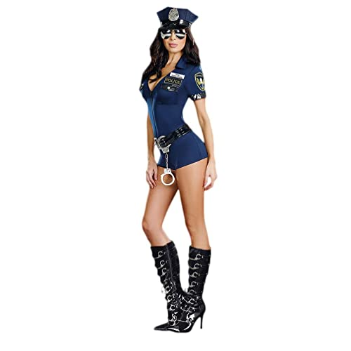 Women/'s Ladies Police Uniform Party Holloween Cosplay Dress Handcuffs Belt Hat