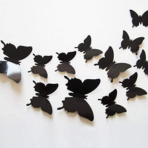 Buy 24pcs 3d Butterfly Removable Mural Stickers Wall Stickers Decal For Home And Room Decoration Black Online In Thailand B06xq9w5bc