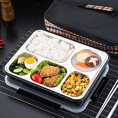 Leak proof Lunch Box with Removable Stainless-Steel Tray for Meals and Snacks
