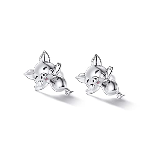 925 Silver Cute Pig//Panda Bear//Dog//Cat Earrings Stud Solid Sterling Jewelry Kiss me Hug Me 3D Kitten Earring