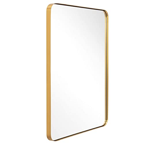 Buy Bathroom Mirror For Wall Brushed Gold Metal Frame 22 X 30 Wall Mirror For Decor Ornate Wall Mounted Mirror Glass Panel Rounded Corner For Living Room And Bedroom Hangs Horizontal Or