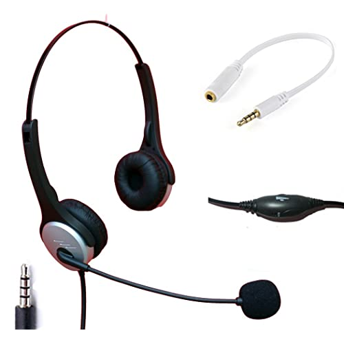Voistek Wired Cell Phone Headset With Noise Canceling Boom Mic Adjustable Headband For Iphone Samsung Lg Htc Blackberry Huawei Zte Mobile Phone Most Smartphones With 3 5mm Jack Binaural H20j35 Buy Products
