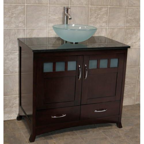 Buy Solid Wood 36 Bathroom Vanity Cabinet Black Granite Top Vessel Sink Tr6 Online In Thailand B00d7o6l3q