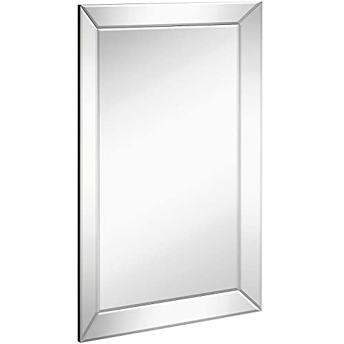 Buy Large Framed Wall Mirror With Angled Beveled Mirror Frame Premium Silver Backed Glass Panel Vanity Bedroom Or Bathroom Luxury Mirrored Rectangle Hangs Horizontal Or Vertical 20 X 30 Online