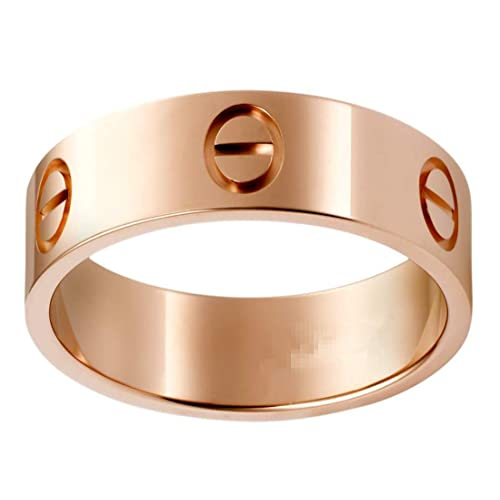 Love Rings Promise with Screw Design Wedding Band Best Gifts for Love with Valentines Day Promise Engagement Wedding Bands for Men Women and Girls