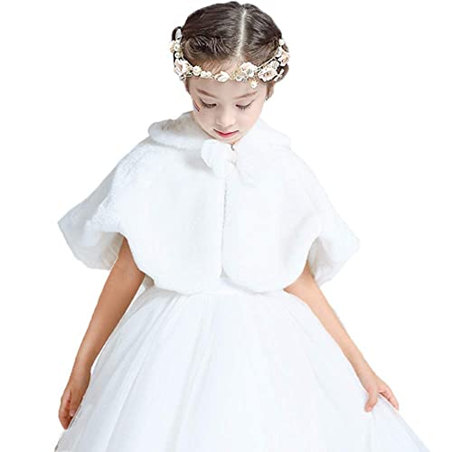 CHICTRY Girls Kids Princess Faux Fur Shoulder Cape Wedding Bridesmaid Dress Wraps Shawl Stole Shrug