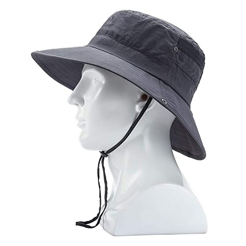 Mens Women Wide Brim Breathable Boonie Hat Outdoor Camping Fishing Boonie Caps