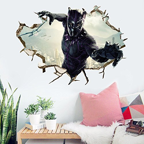 Buy Black Panther Wall Decal Cartoon 3d Marvel Wall Stickers Avengers Cartoon For Kids Bedroom Wall Decor 50 70 Cm Pvc Removable Online In Thailand B07fm61vwv