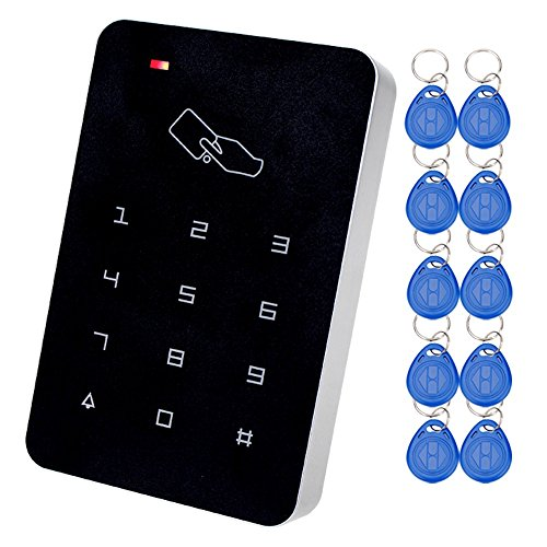 LIBO RFID Access Controller Biometric Fingerprint Face Recognition Time Attendance Machine Employee Checking-in Payroll Recorder with DC12V Power Supply+10pcs 125KHz Keyfobs