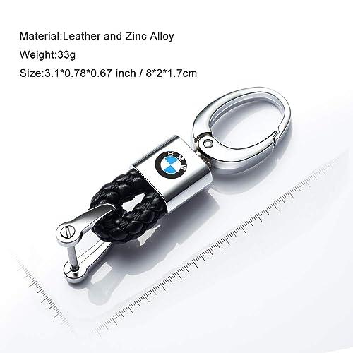 Hey Kaulor 2Pack Genuine Leather Car Logo Keychain for BMW Key Chain Accessories Keyring with Logo