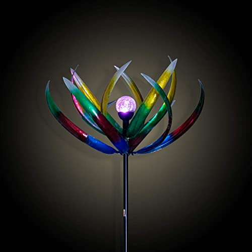Buy Solar Wind Spinner 3d Kinetic Wind Spinners Outdoor Metal Gardening Decorations With Multi Color Led Lighting By Solar Powered Glass Ball With Lawn Ornament Wind Mills Online In Thailand B07ys5g8gw