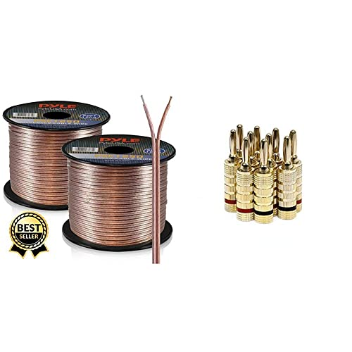 TV Home Theater and Car Stereo 250ft 12 Gauge Speaker Wire 1 Piece Copper Cable in Spool for Connecting Audio Stereo to Amplifier Pyle PSC12250 Surround Sound System