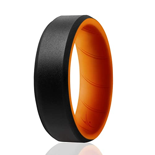 Breathable Silicone Rings with Comfort Fit Air Flow Design Safe Silicone Wedding Ring for Men Comes in 1//4//6 Packs Mens Silicone Rubber Medical Grade Bands ROQ Silicone Ring for Men