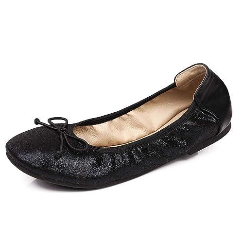 Greatonu Ladies Elastic Foldable Portable Pumps Bow-Tie Ballet Ballerina Flats Dolly Shoes