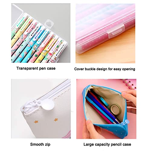 LaVenty 8 PCS Unicorn Stationery Gift Unicorn Notes Tickers Unicorn Ballpoint Pens Unicorn Pencil Pouch Bags for Party Office School Gift