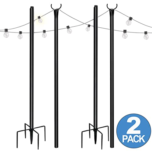 slsy string light poles stand for outside 8 ft 5 prong fork backyard outdoor lights pole 2 pack poles stand for patio garden christmas yard