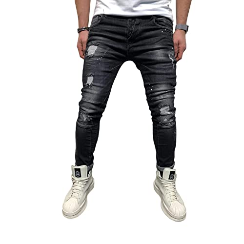 YOUTHUP Mens Biker Jeans Stretch Straight Fit Ribbed Denim Trousers Washed Jean Pants All Waist