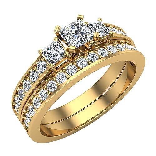 Buy Diamond Wedding Rings Princess Cut Bridal Set 14k Gold 1 06
