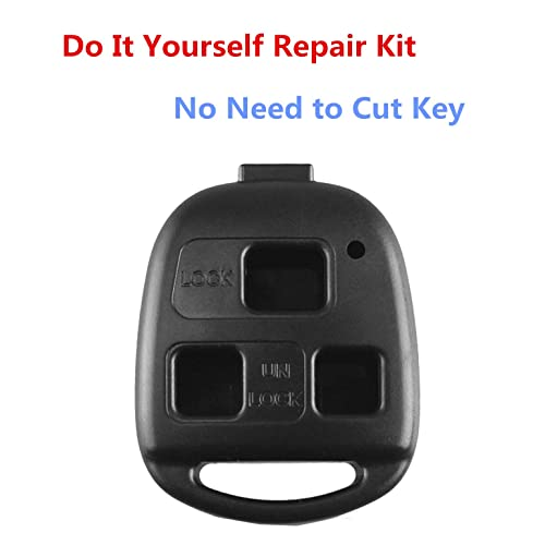 Pack 2 New Replacement 3 Buttons Keyless Entry Remote Control Key Fob Shell for Lexus ES GS GX IS LS LX RX SC Key Fob Case Cover NO Cutting Required Using Your Fob Key And Chip