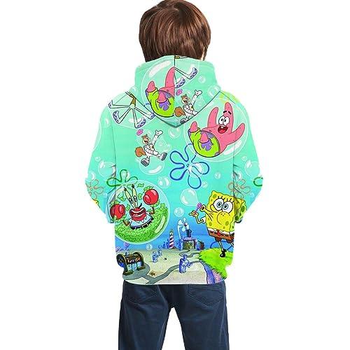 Spongebob Unisex 3D Pullover Hoodie for Teen Kids Long Sleeve Drawstring Hooded Sweatshirts with Big Pockets
