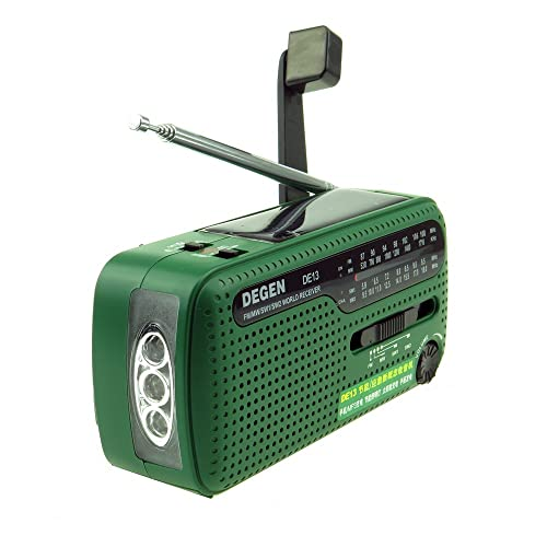 DEGEN Digital DE13 FMSWMW Radio Crank Dynamo Solar Receiver PhoneCharge CO