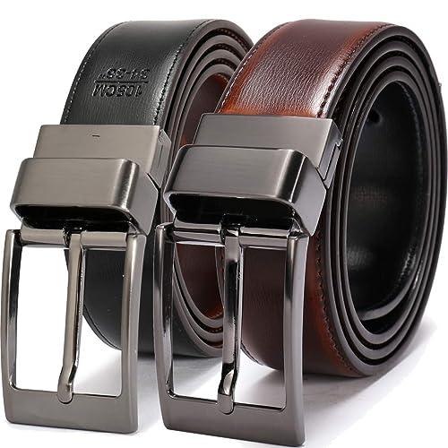 """Beltox Fine Men/'s Dress Belt Leather Reversible 1.25/"""" Wide Rotated Buckle"""