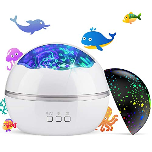 4 LED Bulbs Star Projector Night Light for Kids 9 Lighting Effects and 6.6FT USB Cable for Kids Bedroom//Birthday Party Johgee 360 Degree Rotating Black Star Night Light with 4 Sets of Film
