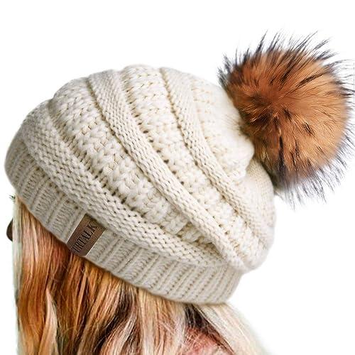 Womens Knit Beanie Winter Hats Detachable Real Raccoon Fur Pom Pom Hat Girls Ski