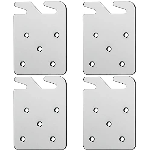 Set of 4 Alasdo Bed Rail Hooks Plates for Wooden Beds Frame Bracket Replacement Wooden Bed Parts or New Bed Constructions