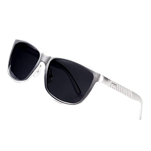 Super Lightweight polarized sunglasses silver frame light aviator black square