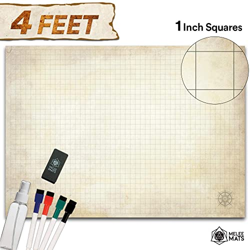 """Battle Grid Game Mat 48/"""" x 34.5/"""" Jumbo Role Playing Game Map DND Role ..."""