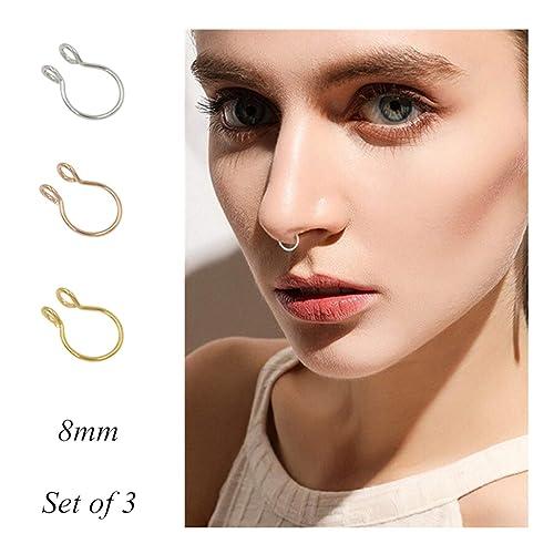 Fake Septum Nose Ring Fake Nose Rings 20g Hoop Nose Ring Gold Rose