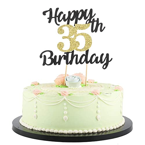 Stupendous Lveud Happy Birthday Cake Topper Black Font Golden Numbers 35Th Personalised Birthday Cards Sponlily Jamesorg