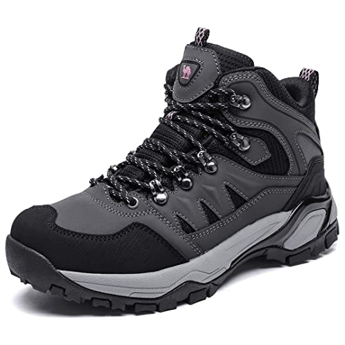 Black GRITION Mens Hiking Boots Waterproof Lace up Work Boots Non-Slip Outdoor Shoes with Steel Mid Sole Protection for Trekking Walking Travelling Backpacking