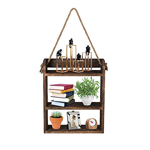 Buy Antjumper Hanging Ladder Shelf Rustic Wood Wall Hanging Floating Shelves With Rope For Kitchen Living Room Bedroom Bathroom Farmhouse Home Wall Decor Storage Online In Thailand B07wfy1ld2