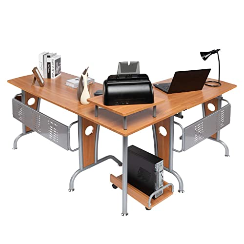 Buy Lauraland L Shaped Computer Desk Modern Computer Corner Table Workstation Home Office Computer Gaming Desk With Round Corner Brown Online In Thailand B07wcbs82s