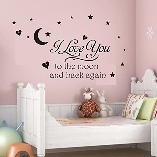 Buy Soledi Black Vinyl Wall Decal I Love You To The Moon And Back Again Wall Sticker Letters Words Baby Kids Room Bedroom Art Wall Decor Online In Thailand B012br0kek