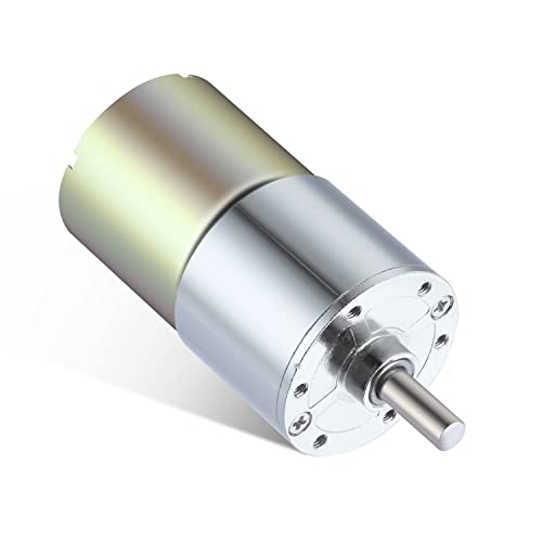 Greartisan DC 12V 100RPM Gear Motor High Torque Electric Micro Speed Reduction Geared Motor Centric Output Shaft 37mm Diameter Gearbox