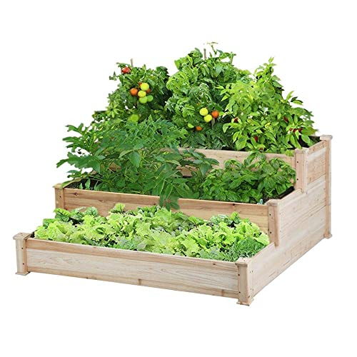 Yaheetech 3 Tier Wooden Elevated Raised Garden Bed Planter Box Kit Natural Solid Wood 49 X49 X21 9 Buy Products Online With Ubuy Thailand In Affordable Prices B07qnwyfzw