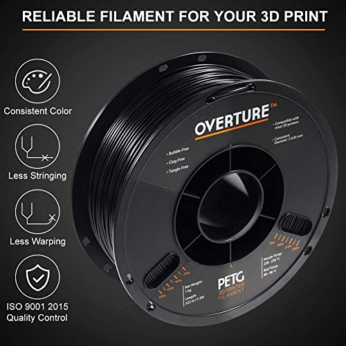 Purple 2.2lbs Fit Most FDM Printer 1kg Spool OVERTURE PETG Filament 1.75mm with 3D Build Surface 200 x 200 mm 3D Printer Consumables Dimensional Accuracy +//- 0.05 mm